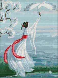 נערה עם עגור לבן